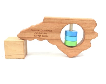 North Carolina State Rattle™ - Modern Wooden Baby Toy - Organic and Natural