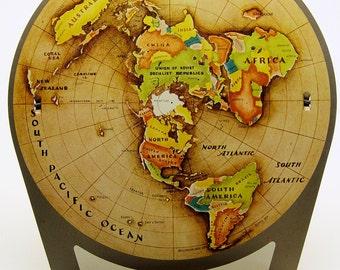 Tin Litho World Globe Standing Newspaper Holder 1953