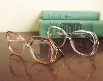 Big Vintage Glasses, Womens Mod Eyeglasses, Pink Mocha Brown or Clear with Gold Frames