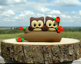 Bride and Groom Owl Wedding Cake Topper Polymer Clay