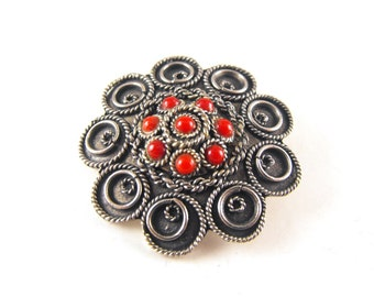 Pendant Brooch Silver Cannetille Coral Cabochons Signed Made In Palestine Uncommon Signature Piece