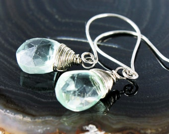 Green Fluorite earrings, Sterling Silver wire wrapped fine earrings with pale green gemstone, green crystals, gift for her, ER2140