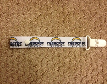 Chargers Pacifier Holder with snap or string