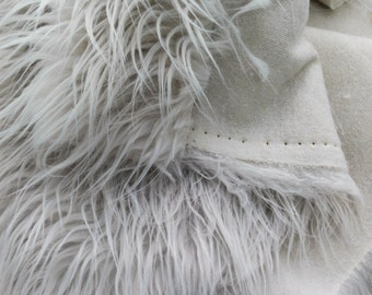 Faux Fur Bleach White Mongolian  60 Inch Fabric by the Yard, 1 yard