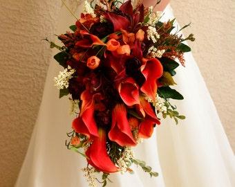 Celtic Brides Wedding Bouquet Set in Orange and Deep Red 13 Piece