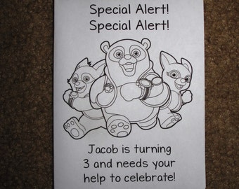 PDF FILE ONLY-- Special Agent Oso Inspired Personalized Coloring Pages Booklets Books Birthday Party Favors