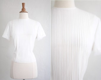 Vintage 1950's 50s White Nylon Blouse Shirt Top Small S