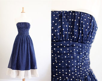 Vintage 1950's 50s Navy Cream Polka Dot Party Dress Full Skirt Strapless XS / S Extra Small