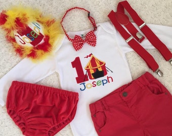 Circus Birthday outfit-includes personalised top (onesie/tee)and bottom (shorts/Diaper cover/longpants)