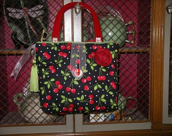 Cherry handbag with red handles