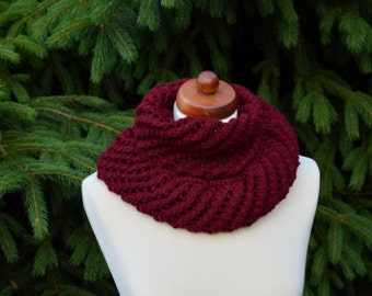 Hand Knit Infinity Scarf , Long Scarf, Lace Design,Maroon color,Wool, Lace  Scarf, Cowl Scarf, Soft Openwork snood, gift