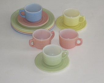12 Pc Set Hazel Atlas Pastel Little Hostess Children's Dishes