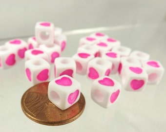 Cube beads with pink hearts 50 pieces Square heart beads 7mm spacer beads colored hearts jewelry supply
