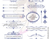 VECTOR Clipart Retro NAVY BLUE Calligraphy Flourish Graphics Text Dividers Oval Digital Frame Diy Business Logo Wedding Commercial Use 10236