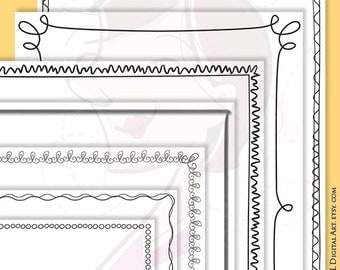 whimsy page border frames digital doodles clipart 8 x 11 whimsical frames hand drawn vectors teacher craft supply commercial use 10120