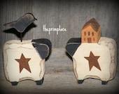 Primitive Wooden Sheep Miniatures