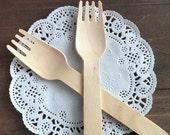 100 Wooden forks - birch wood forks - wood forks