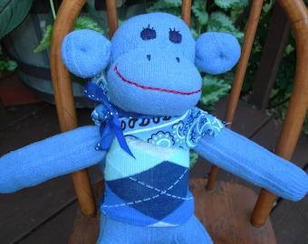 Little Boy Blue Sock Handmade Sock Monkey Doll