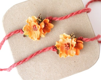 Golden Yellow Orange Fall Flower on Braided Halo Tieback Headband - Newborn, Baby, Toddler, Child - Ready to Ship