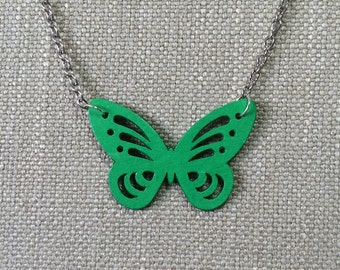 Butterfly pendant made from green paper