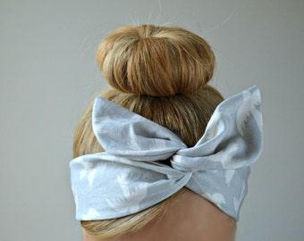 Gray bird Dolly bow, hair bow head band, hair bow