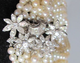 Antique 1940's Estate Pearl & Diamond 14K Gold Bracelet...ON SALE
