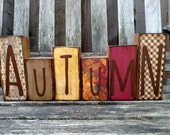 Autumn Wood Sign Fall Decor Blocks Thanksgiving Theme