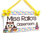 personalized teachers name door sign - owls themed class decor - kasefazem best seller -  P397