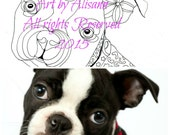 Custom Coloring Page of your Pup -Hand drawn portrait of your Pup/Dog