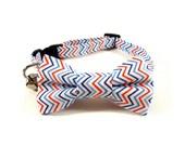 Cat Bow Tie Collar, CHEVRON BLUE RED, Cat Collar Bow Tie, Handmade