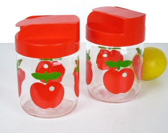 Vintage apple jars, red plastic dispenser lids, 1970s kitchen storage, made in France