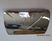 "Card case silver chrome trifold with initial ""W"""