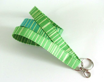 Fabric Lanyard Key Holder, ID Badge Lanyard Turquoise Aqua Green Stripe, Nurse or Teacher Lanyard