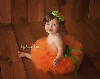 BABY PUMPKIN COSTUME, Ready to Ship, Size 6-12 Month, Baby Pumpkin Tutu, Pumpkin Halloween Costume, Baby Halloween Costume, Pumpkin Tutu
