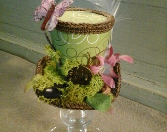 One of a kind fairy home moss garden mini top hat  tiny top hat costume or cosplay
