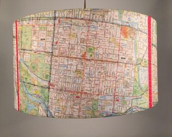 Inner City Melbourne - hanging pendant light shade. Upcycled Melways, vintage maps