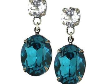 Teal Earrings Personalized Gift Indicolite Swarovski Crystal Earrings Turquoise Earrings Clip On Avail Antique Stud Earrings Silver Long