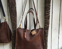 Distressed Leather Tote* Leather Tote with Carry Strap* Large Tote* Business Tote* Market Bag* Handmade in the USA
