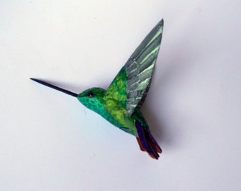 hummingbird art paper mache Colibri sculpture bird  ornament