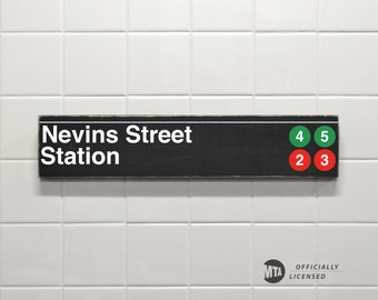 Nevins Street Station - New York City Subway Sign - Wood Sign