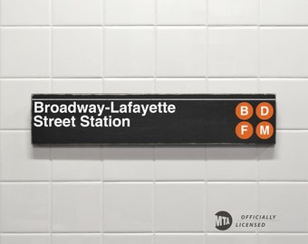 Broadway-Lafayette Street Station- New York City Subway Sign - Wood Sign