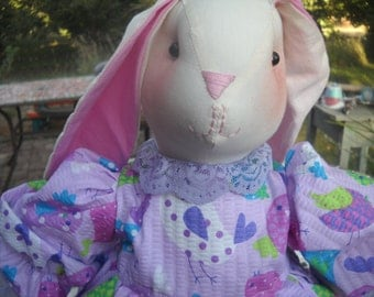Lavender Birdies Stuffed Bunny Rabbit Doll