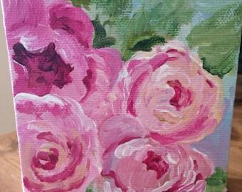 Mini canvas painting/roses/ original artwork