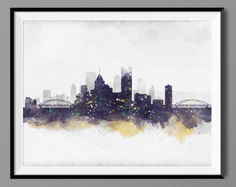 Pittsburgh Skyline Watercolor Wall Art Print Poster Housewarming Home Decor Cityscape