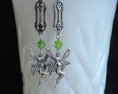 Fairy Earrings, Whimsical Jewelry, Fairy Magic, Silver and Green