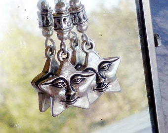 When You Wish Upon a Star, Celestial Earrings, Dangle Earrings with Long Earwire, Whimsical