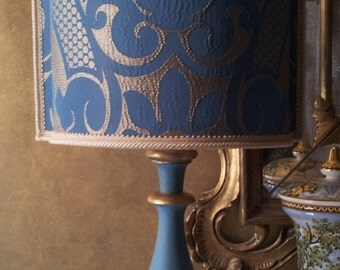 Vintage Blue and Gold Turned Wood Table Lamp with Rubelli Fabric Lamp Shade - Made in Italy