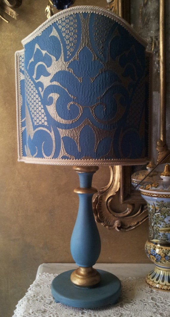 Vintage Blue And Gold Turned Wood Table Lamp With Rubelli