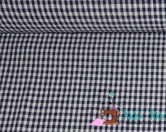0,5 x 1,40 m woven COTTON fabric GINGHAM 3 mm, dark BLUE, white 100% cotton