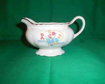 """One (1), 3 1/8"""", 8 oz Creamer, from Homer Laughlin, in the Tulips In A Basket, Virginia Rose Pattern, Gold Trim."""